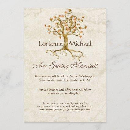Swirl Tree Roots Antiqued Parchment Wedding Save Save The Date