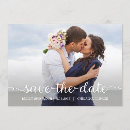 Swirling Script Wedding Save The Date Cards