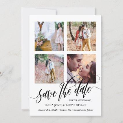 Swirly Calligraphy Photo Collage Save the Date Holiday Card