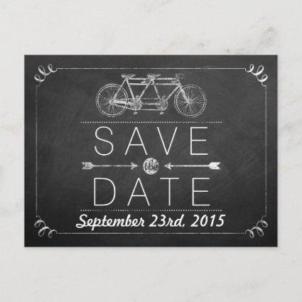 Tandem Bicycle Chalkboard Typography Wedding Announcements Cards