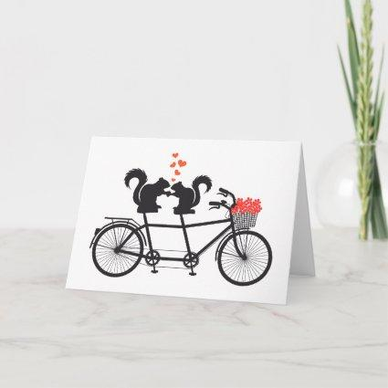 tandem bicycle with squirrels card