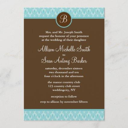 Teal and Brown Damask Pattern Wedding Invitations