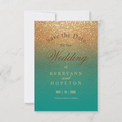 Teal and Gold Glitter - Save The Date