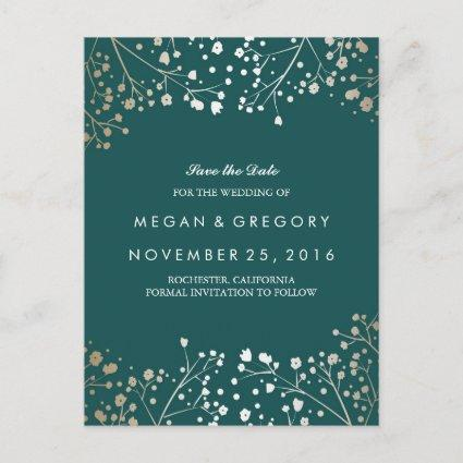 Teal and Gold Save the Date Announcement