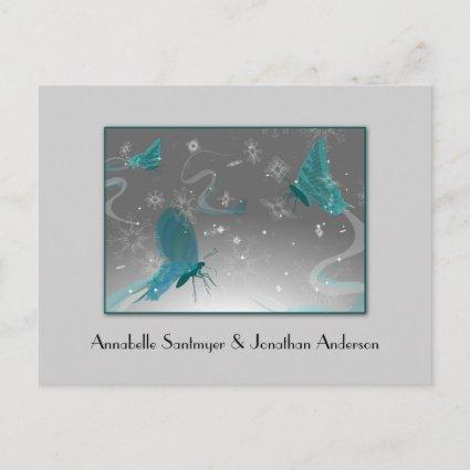 Teal and Gray Butterflies Save The Date Announcement