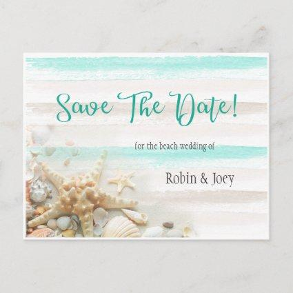 Teal and Ivory Stripes Seashells Save The Date Announcement
