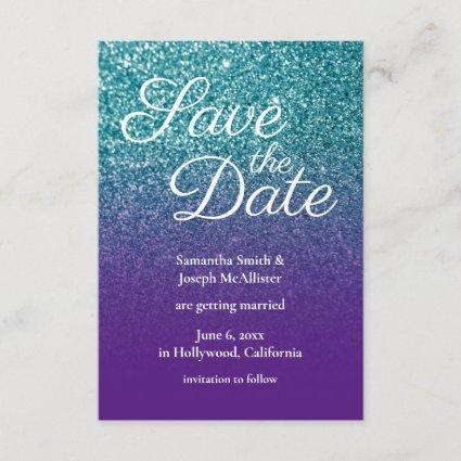 Teal and Purple Ombre Glitter Save the Date Invitation