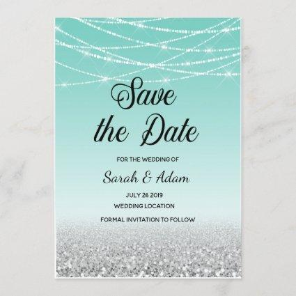 Teal and Silver Glitter Save the Date Cards