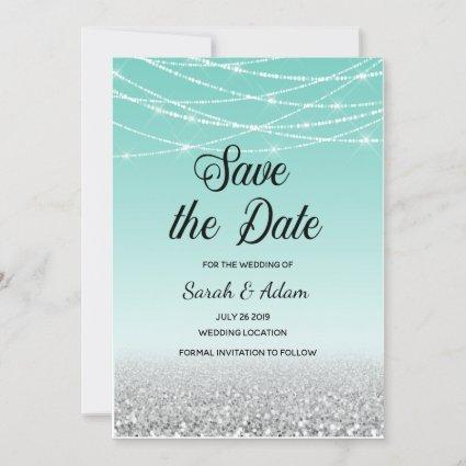 Teal and Silver Glitter Save the Date Card