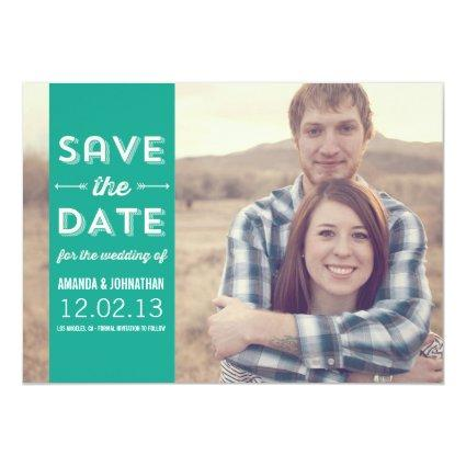 Teal Banner Photo Save The Date Announcements