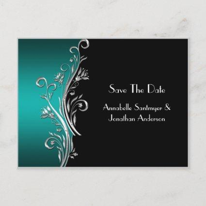 Teal Black Silver Swirls Save The Date Announcement