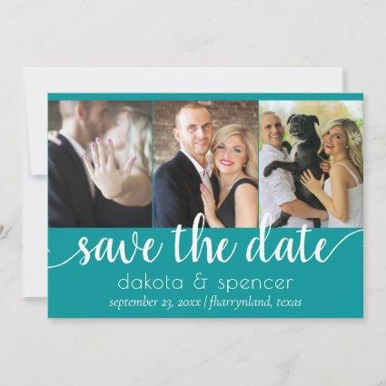 Teal Blue-Green | Jade Simple Script 3 Photo Save The Date