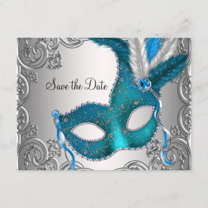 Teal Blue Masquerade Save The Date Announcement