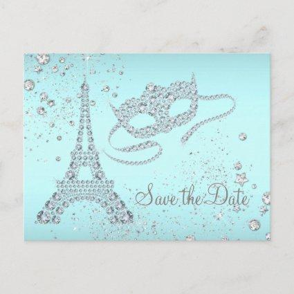 Teal Blue Paris Masquerade Party Save The Date Announcement