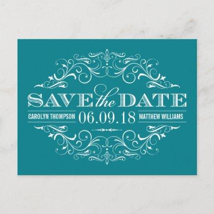 Teal Blue Save the Date | Swirl and Flourish Announcements Cards
