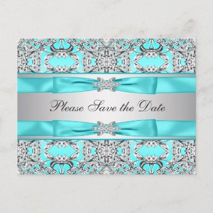 Teal Blue Silver Save The Date Announcements Cards