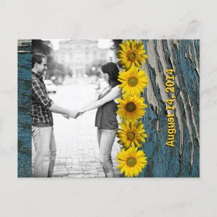 Teal Blue Wood Look Sunflower Photo Save the Date Announcement