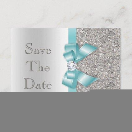Teal Bow Diamonds Silver Save The Date Baby Shower