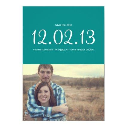 Teal Chic Photo Save The Date Announcements