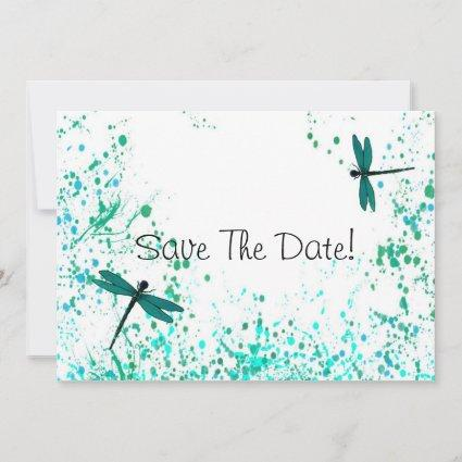 Teal Dragonflies Save The Date