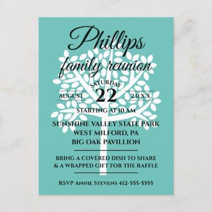 Teal Family Reunion White Tree Silhouette Invitation