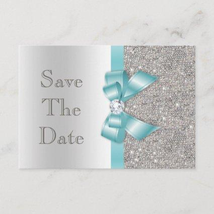 Teal Faux Bow & Diamonds Silver Save The Date