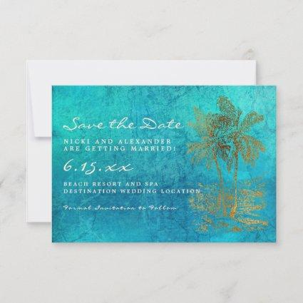 Teal Gold Tropical Palm Save Our Date Wedding Save The Date