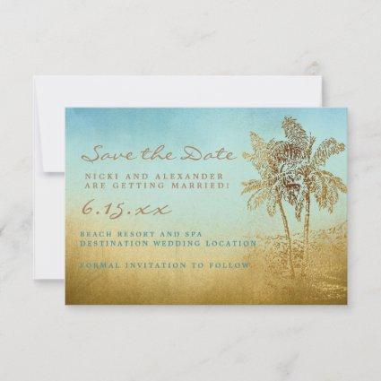 Teal Gold Tropical Palm Save The Date Wedding