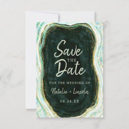 Teal Green & Gold Agate Marble Geode Modern Save The Date