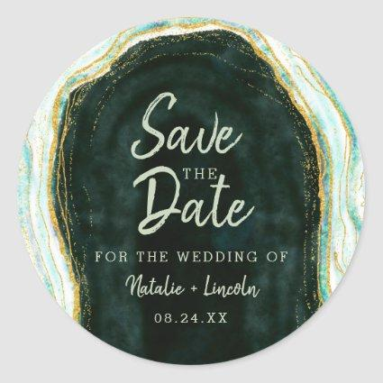 Teal Green & Gold Agate Marble Geode Save the Date Classic Round Sticker