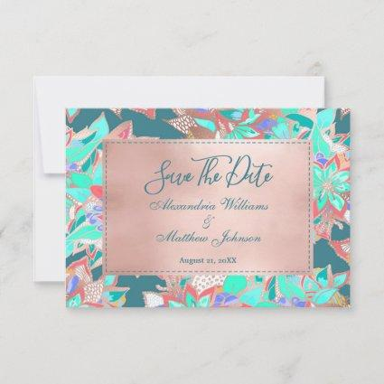 Teal living coral rose gold floral Save The Date