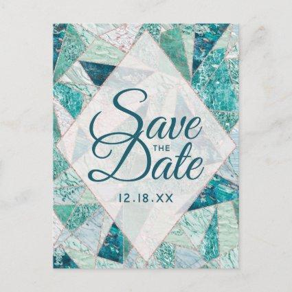 Teal Mosaic Marble Triangles Save the Date Announcement