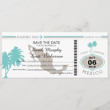 Teal Palm Tree Save the Date Boarding Pass