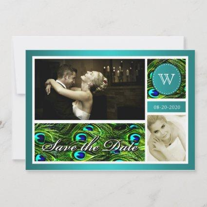 Teal Peacock Wedding Save the Date Photo