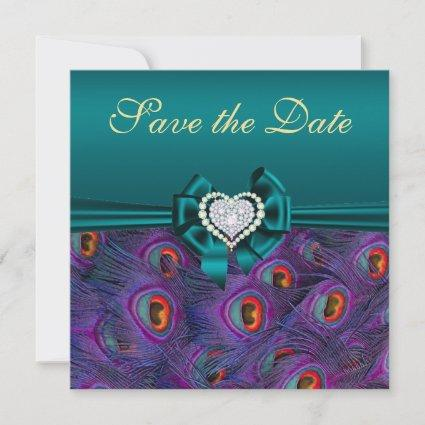 Teal Plum Peacock Save the Date