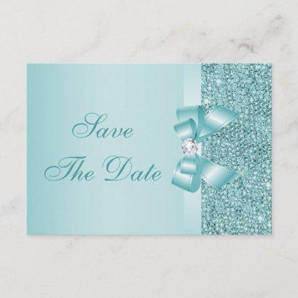 Teal Printed Sequins Baby Shower Save the Date