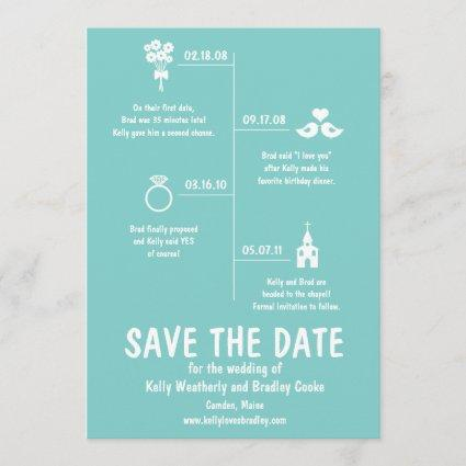 Teal Relationship Timeline Wedding Save The Date