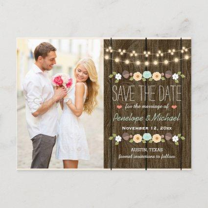 Teal String of Lights Fall Rustic Save the Date Announcement