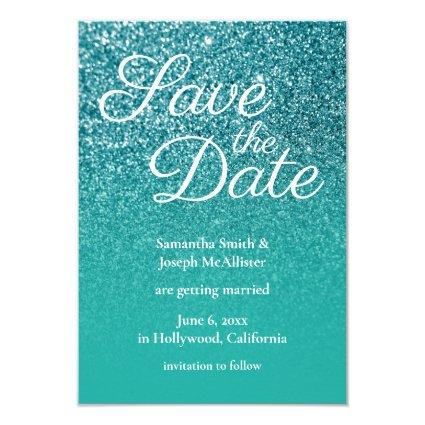 Teal Turquoise Ombre Glitter Save the Date Invitation