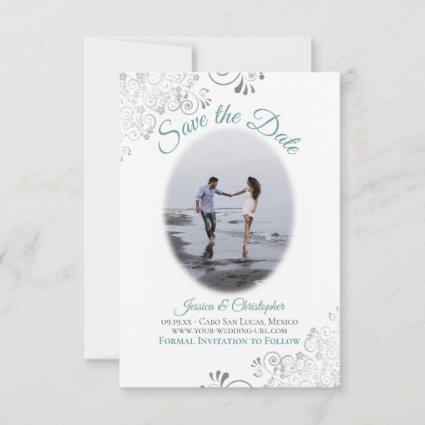 Teal & White Simple Elegant Wedding Oval Photo Save The Date