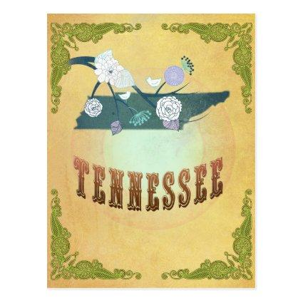 Tennessee Map With Lovely Birds Cards