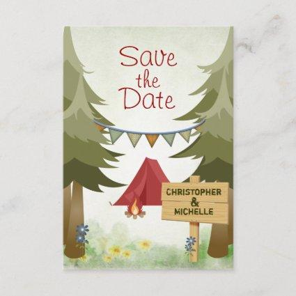 Tents and Campfire Woodland Camping Wedding Save The Date