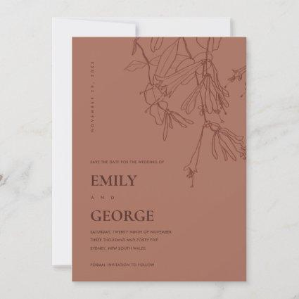 TERRACOTTA LINE DRAWING FLORA SAVE THE DATE CARD