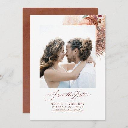 Terracotta Pampas Grass Save The Date Photo