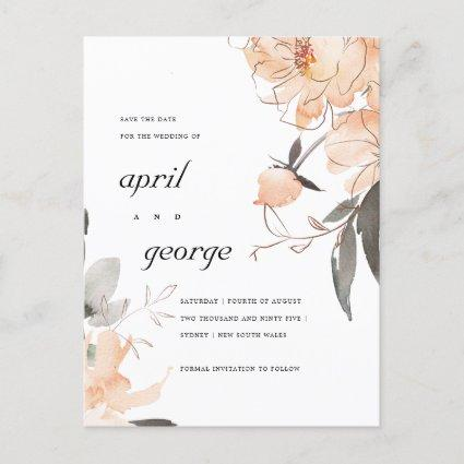 TERRACOTTA RUST BROWN FLORAL SAVE THE DATE CARD