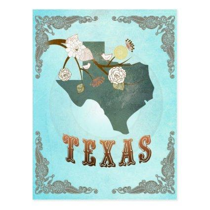 Texas Map With Lovely Birds Cards