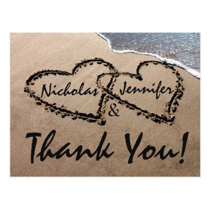 Thank You Hearts Written In Sand Wedding