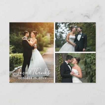 Thank You Rustic Wood Wedding Photo Pic Collage