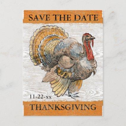 Thanksgiving Turkey Rustic Save the Date Invitation