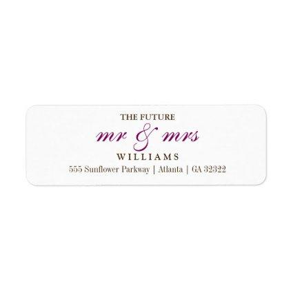 The Future Mr and Mrs Return Address Label